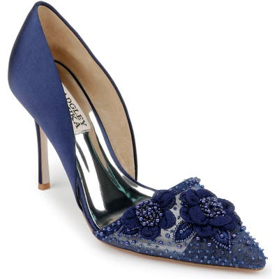 Badgley Mischka Ophelia Beaded Floral Pointed Toe Pump, Blue