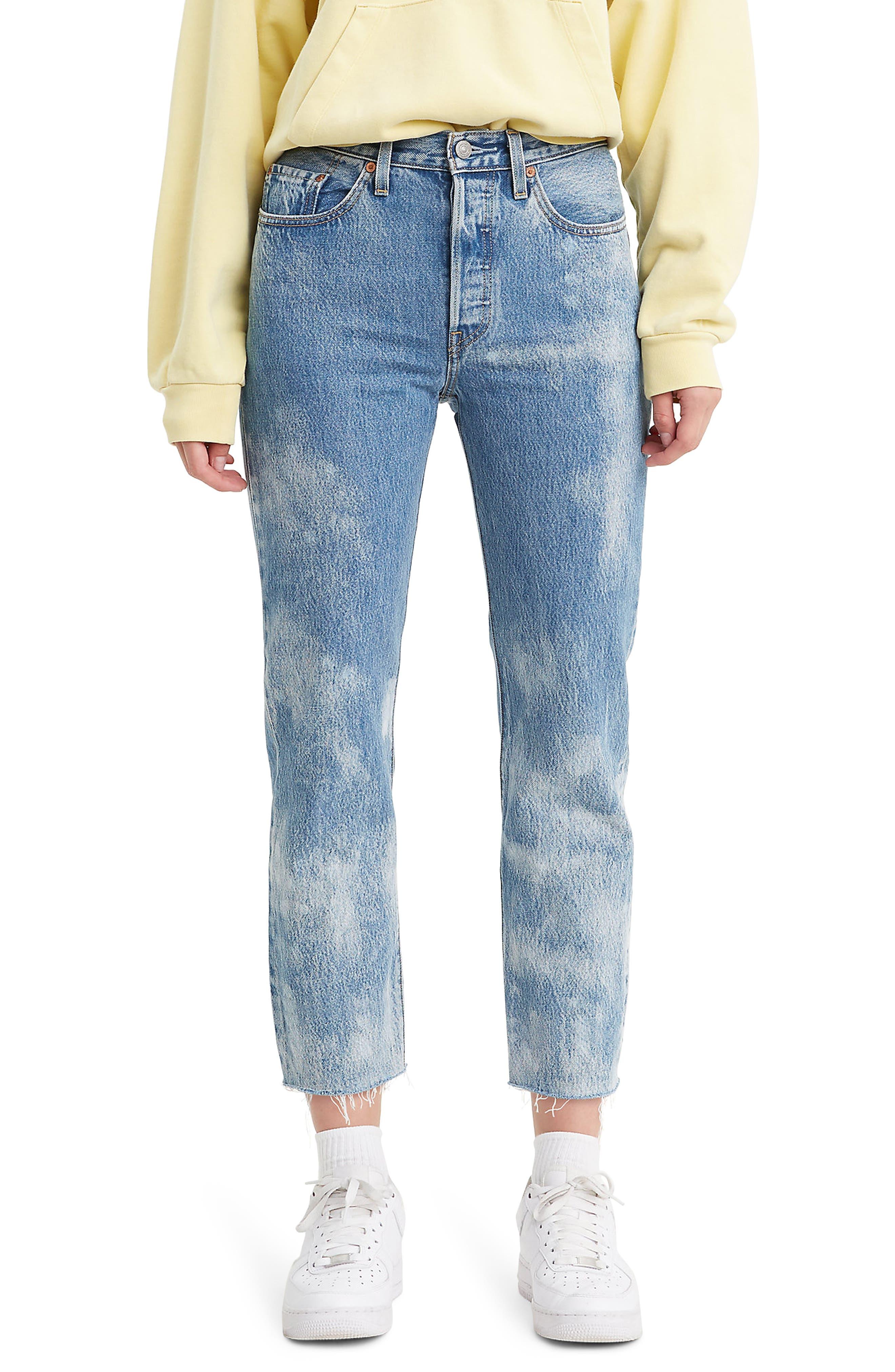 Women's Levi's 501 High Waist Fray Hem Crop Straight Leg Jeans,  33 x 26 - Blue