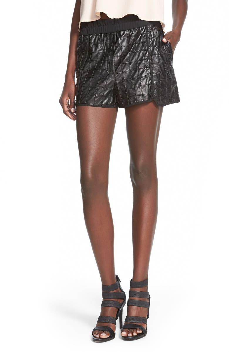 WHITNEY EVE 'Joshua Tree' Faux Leather Shorts, Main, color, 001