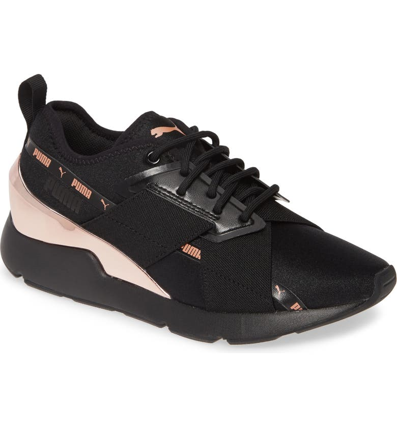 PUMA Muse X-2 Metallic Sneaker, Main, color, PUMA BLACK/ ROSE GOLD