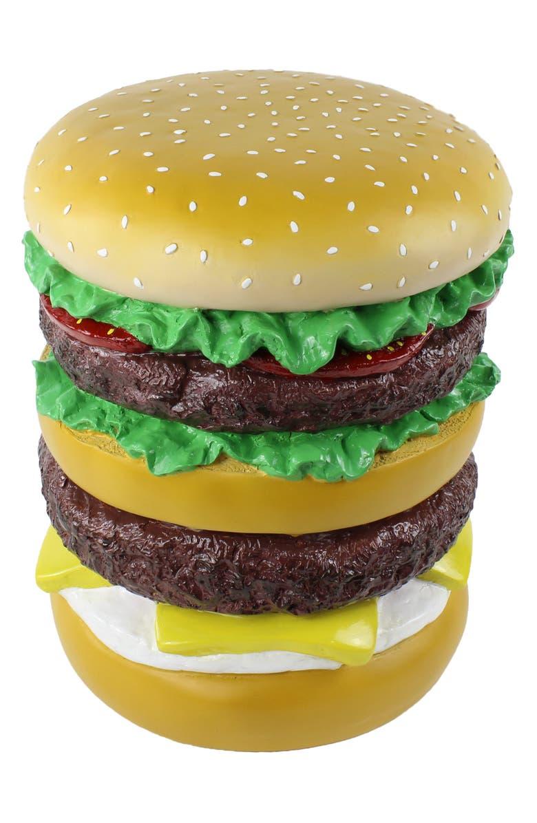 THIRD DRAWER DOWN Giant Hamburger Stool, Main, color, MULTI