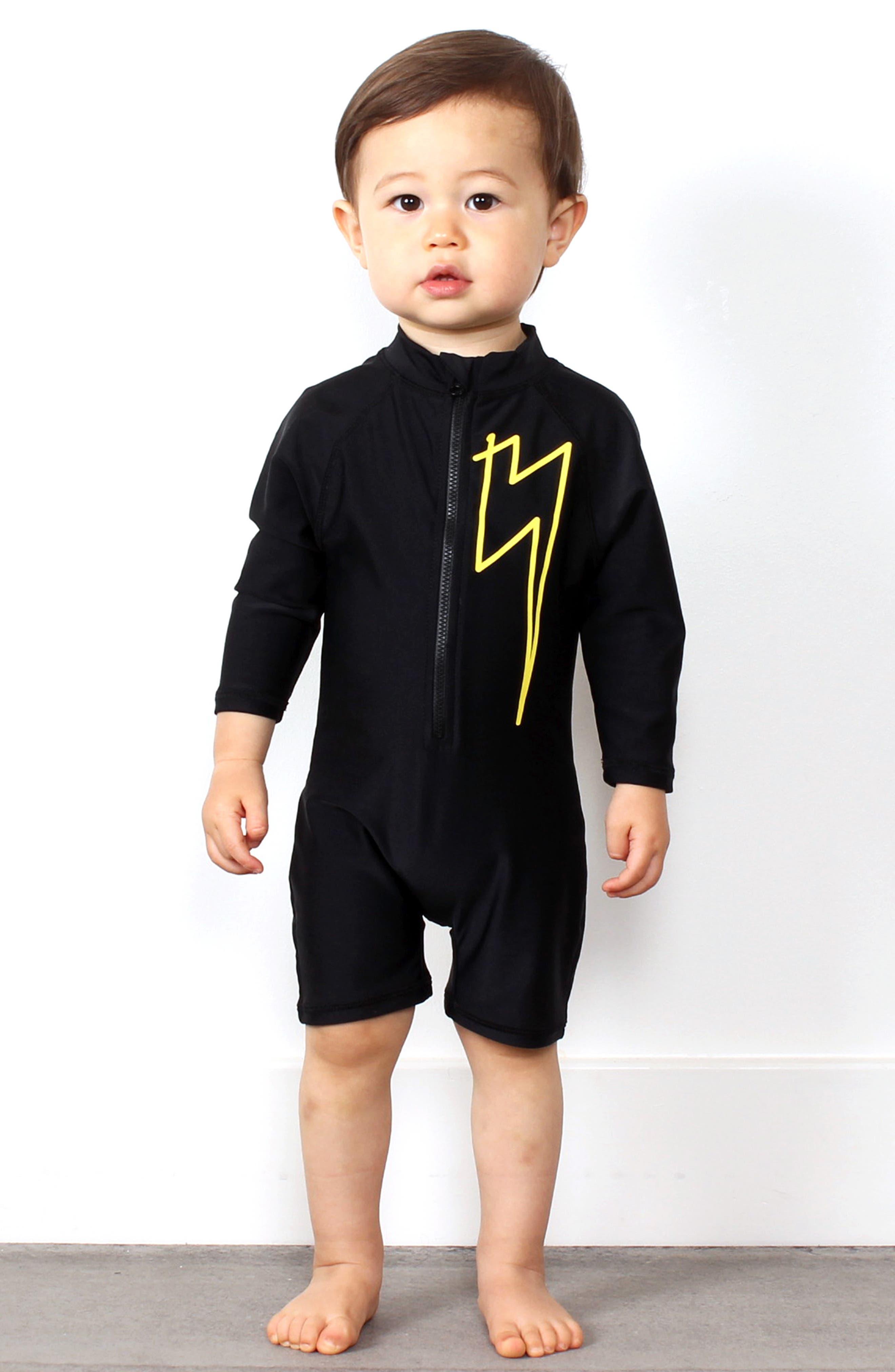 ,                             Lightning One-Piece Rashguard Swimsuit,                             Alternate thumbnail 2, color,                             BLACK