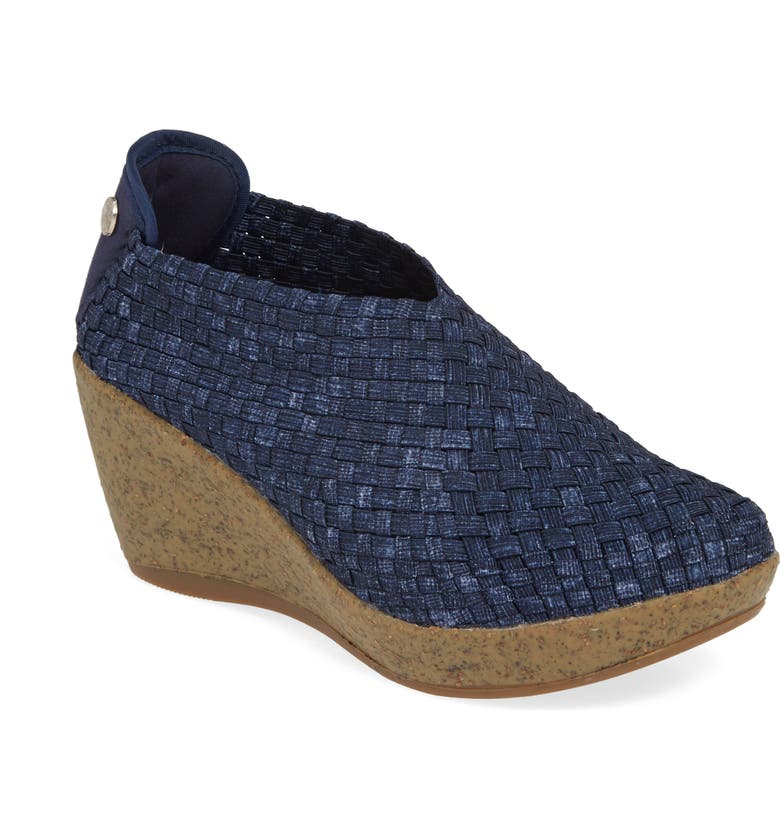 BERNIE MEV. Woven Wedge, Main, color, JEANS FABRIC