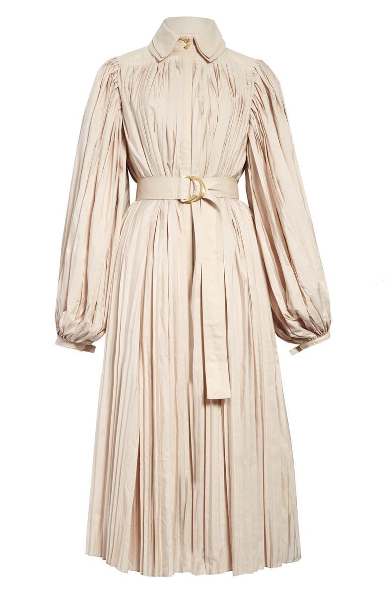 AJE Prima Pleated Long Sleeve Midi Dress, Main, color, SAND