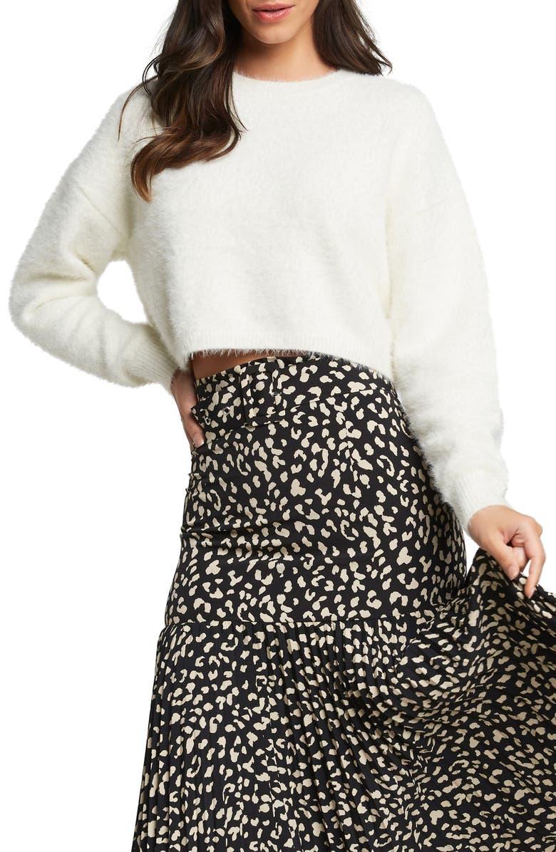 BARDOT Crop Fluffy Sweater, Main, color, ECRU