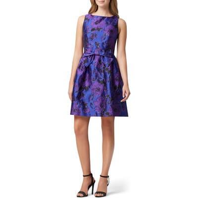 Tahari Jacquard Fit & Flare Dress, Purple