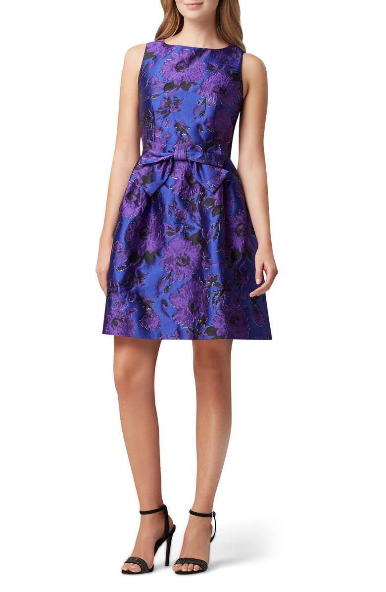TAHARI Jacquard Fit & Flare Dress, Main, color, PURPLE ROYAL FLORAL