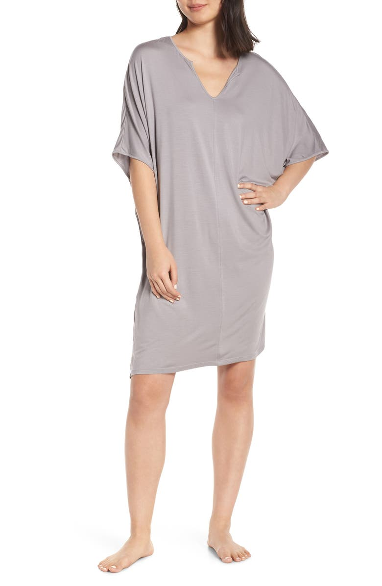 BAREFOOT DREAMS<SUP>®</SUP> Luxe Jersey Nightgown, Main, color, PEWTER