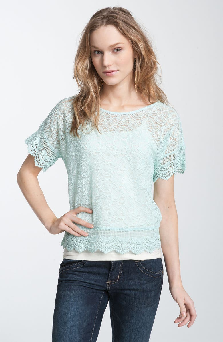 CHLOE & KATIE Chloe K Sheer Crochet & Lace Top, Main, color, 335