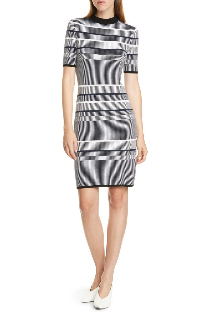 HUGO Sawery Stripe Crewneck Dress, Main, color, CLEAN NAVY FANTASY