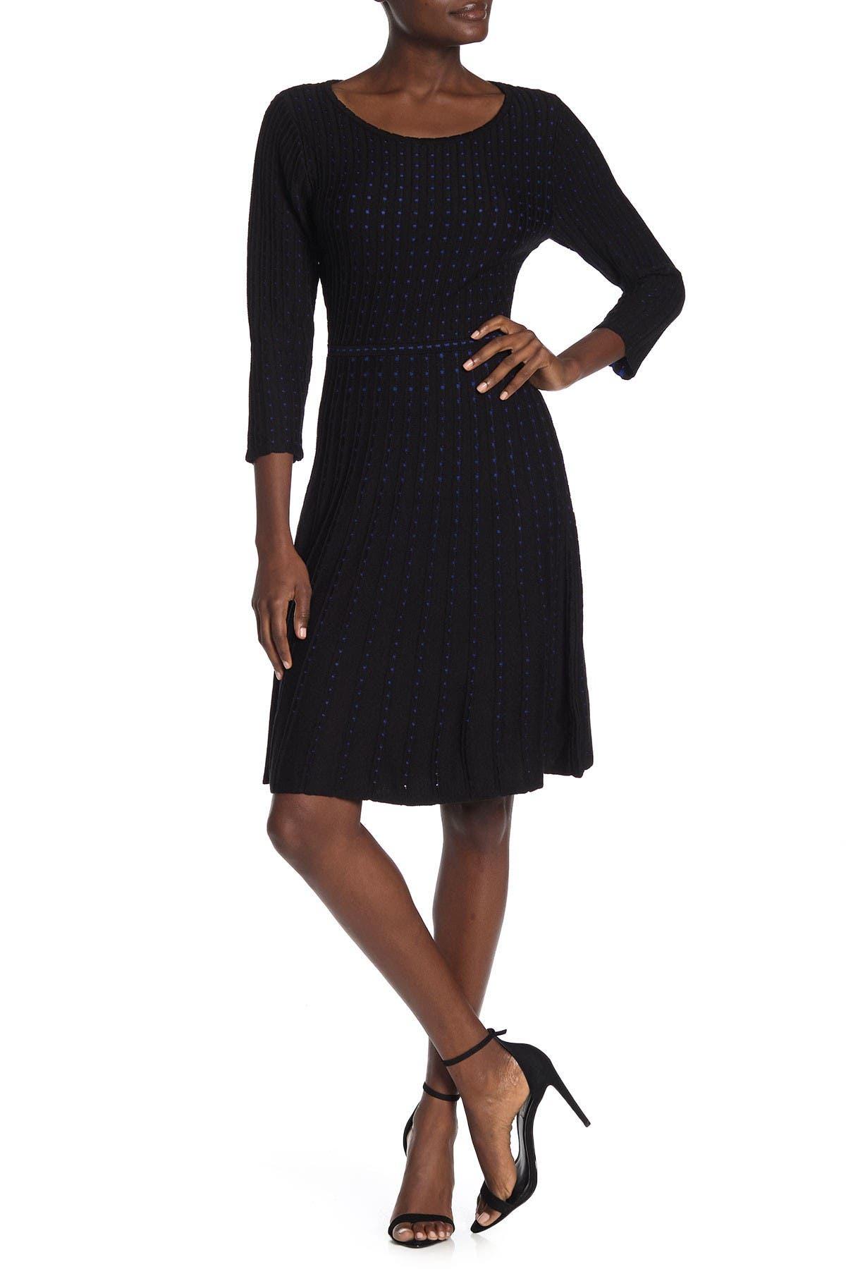 Image of Nina Leonard Dot Pattern Sweater Dress