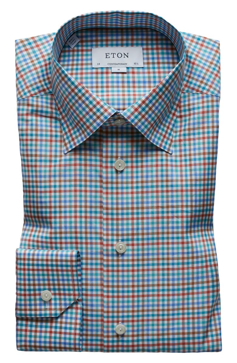ETON Contemporary Fit Check Dress Shirt, Main, color, GREEN