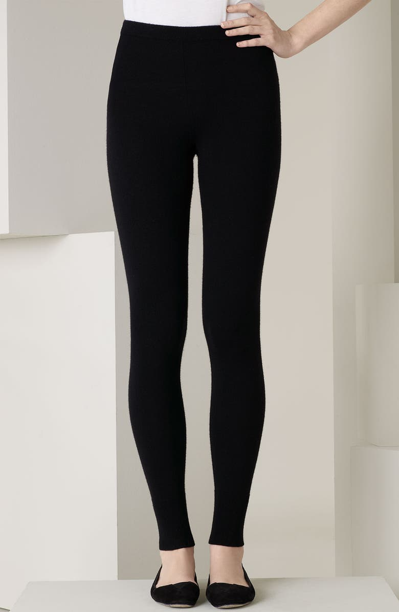 DONNA KARAN NEW YORK 'The Cashmere Collection' Leggings, Main, color, 001