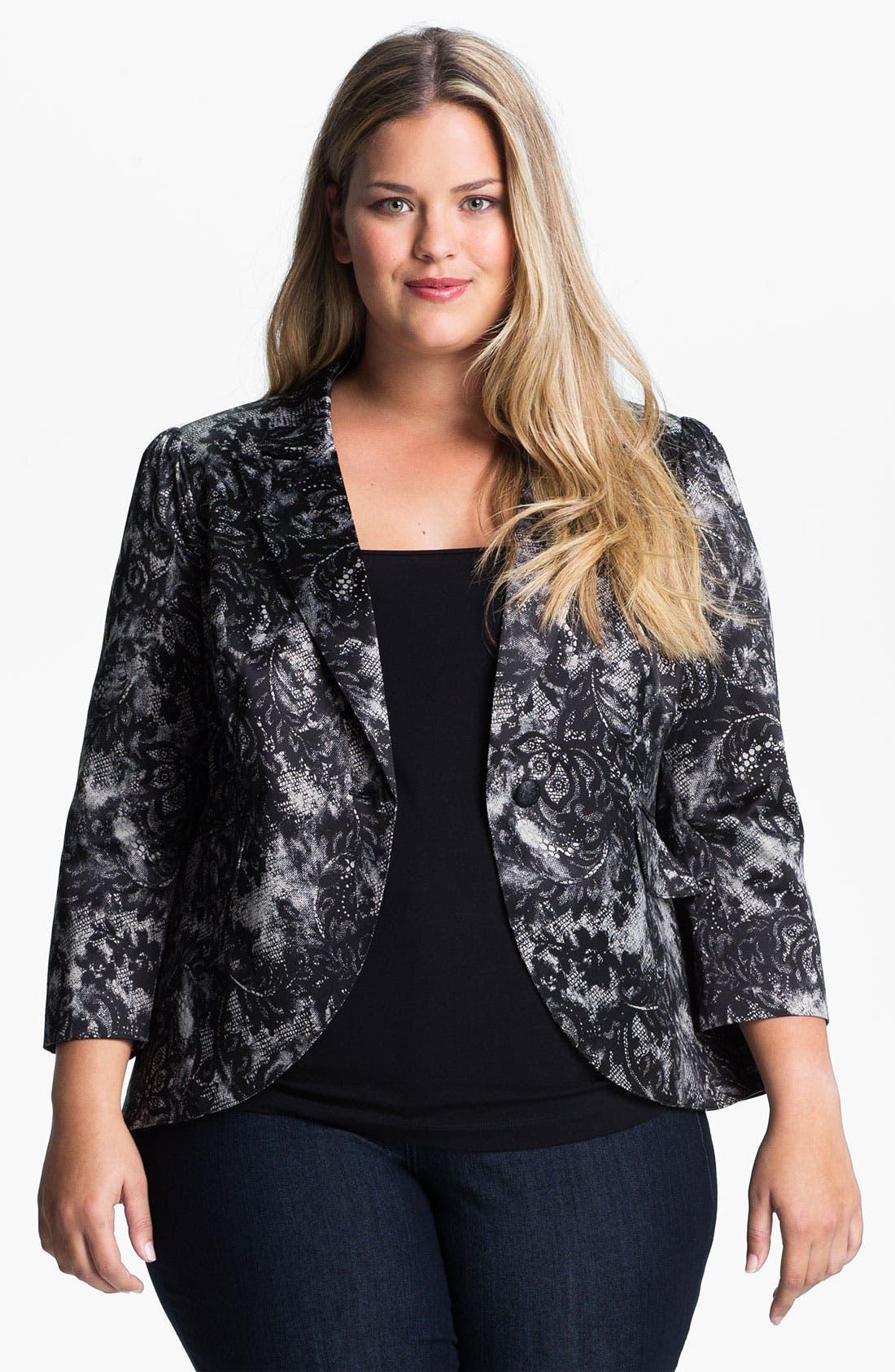 Lace Print Blazer, Main, color, 001