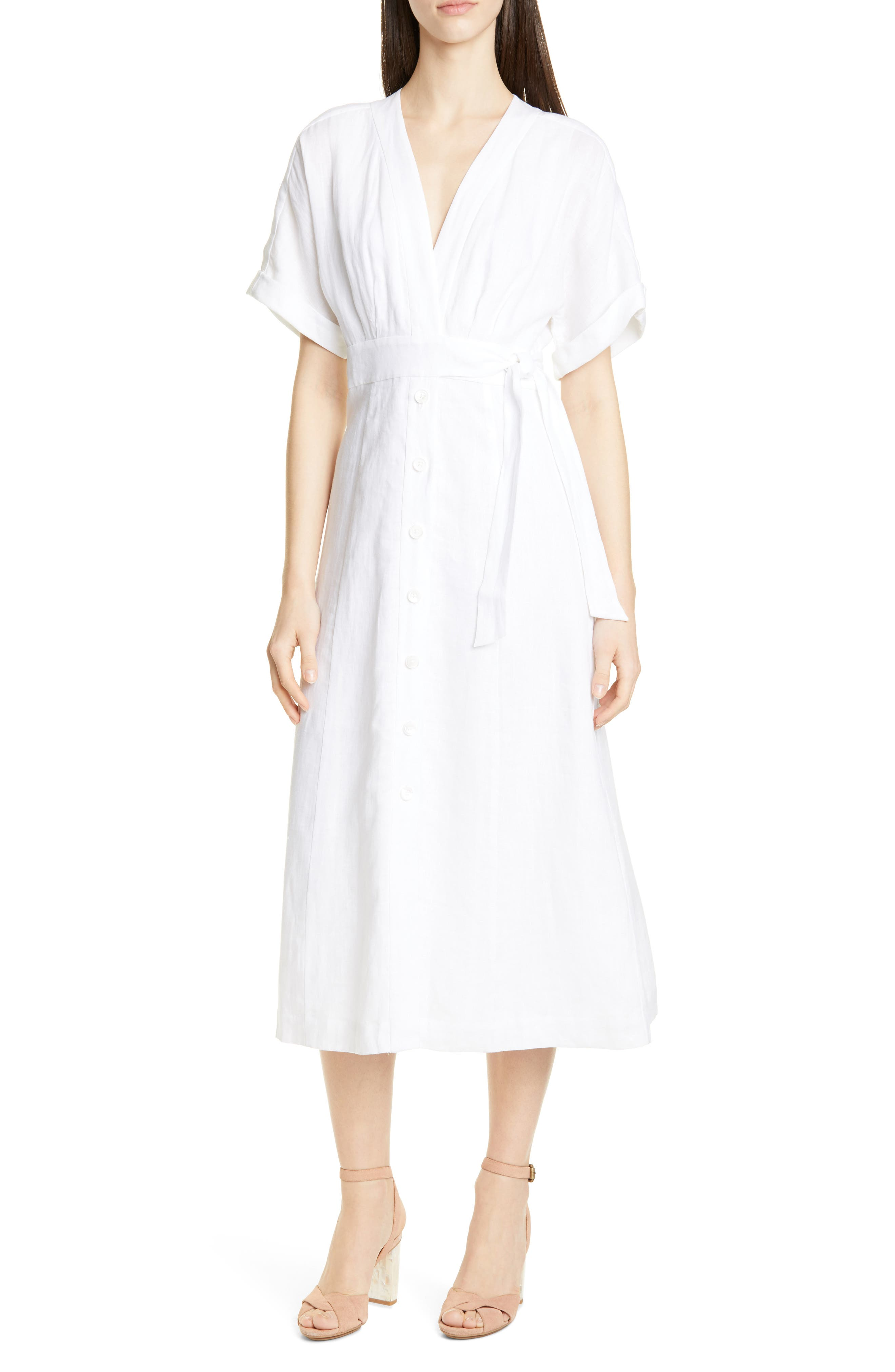 Equipment Nauman Linen Dress, White