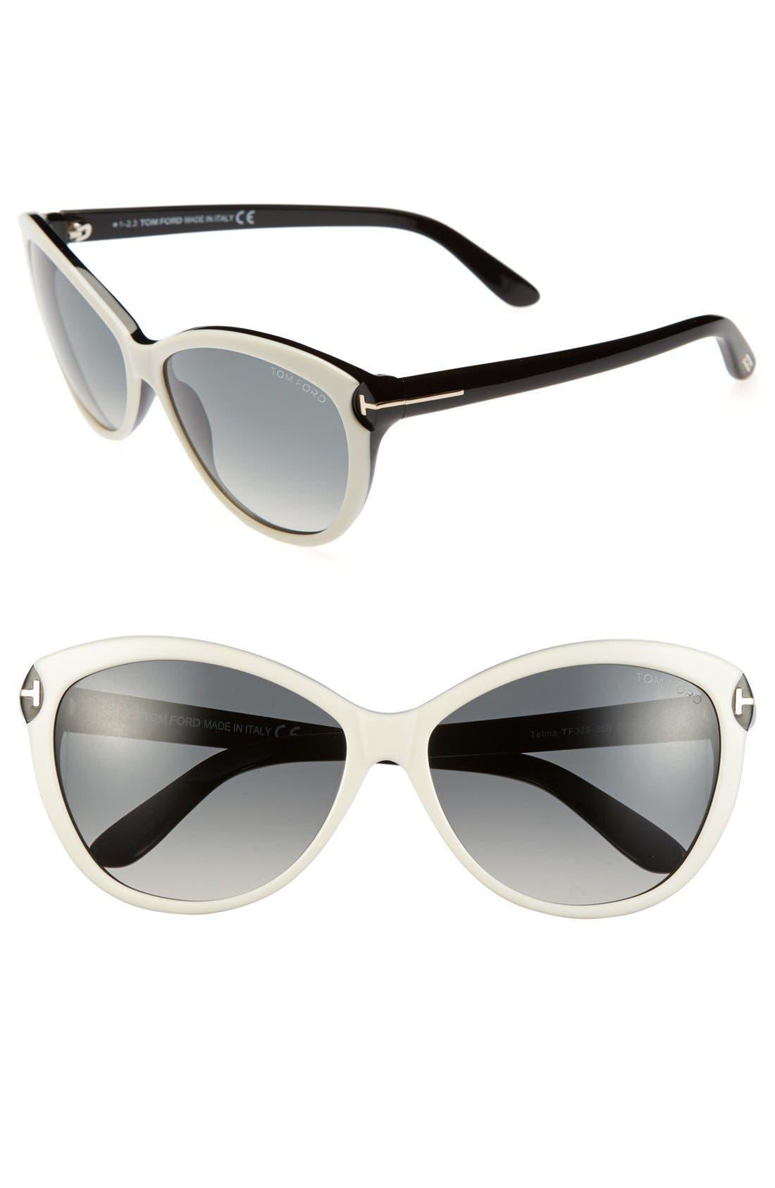 ,                             'Telma' 60mm Cat Eye Sunglasses,                             Main thumbnail 4, color,                             900
