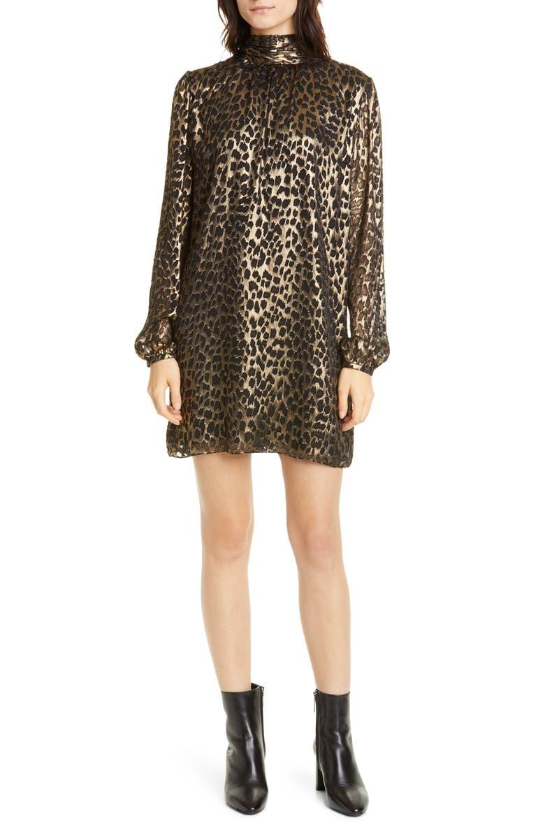 SAINT LAURENT Lamé Leopard Burnout Long Sleeve Silk Blend Shift Dress, Main, color, NOIR OR METAL
