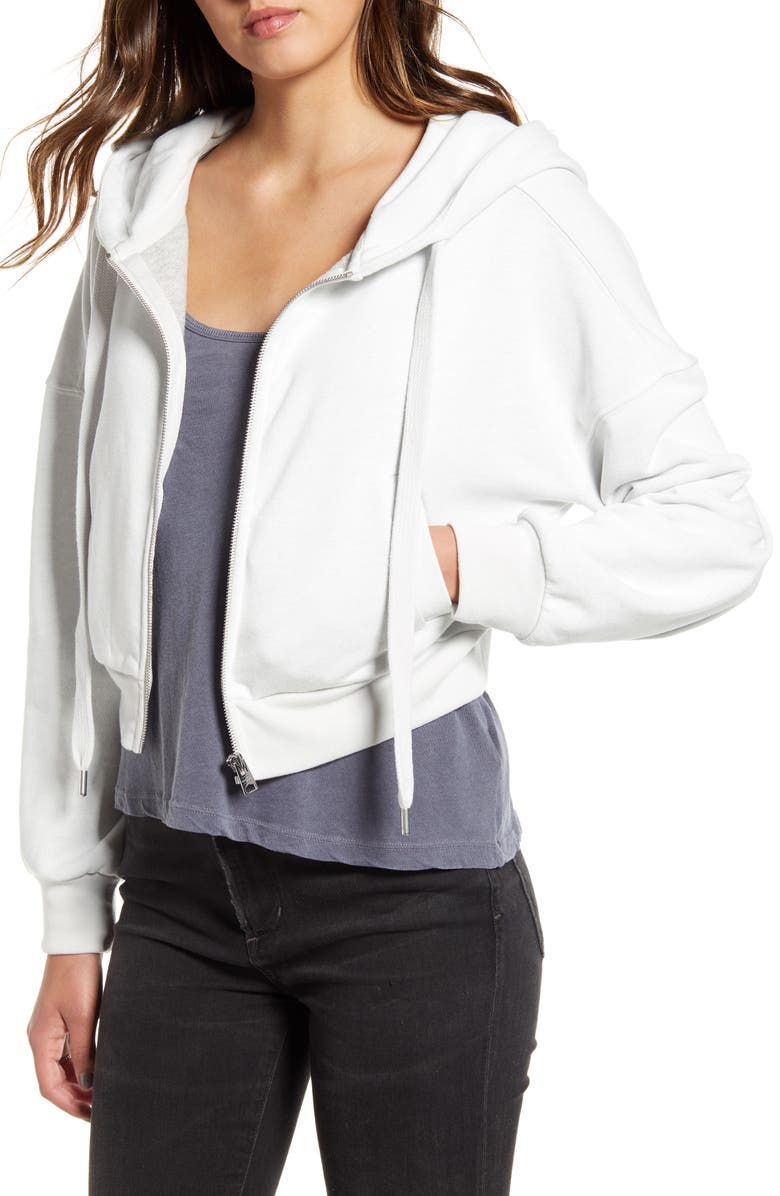 ALLSAINTS Quince Crop Zip Front Hoodie, Main, color, IVORY WHITE