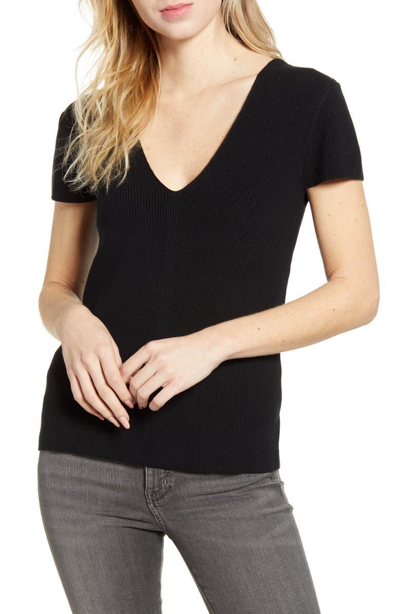 CHELSEA28 Ribbed V-Neck Sweater, Main, color, BLACK