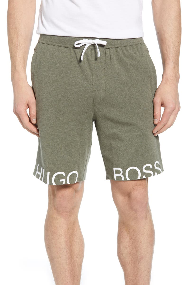BOSS Identity Lounge Shorts, Main, color, GREEN
