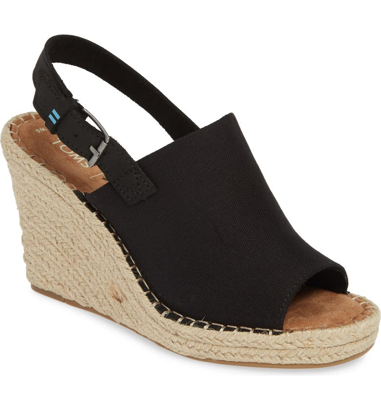 TOMS Monica Slingback Wedge, Main, color, BLACK FABRIC