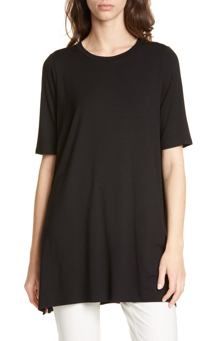 EILEEN FISHER Stretch Tencel<sup>®</sup> Lyocell Tunic, Main, color, 001