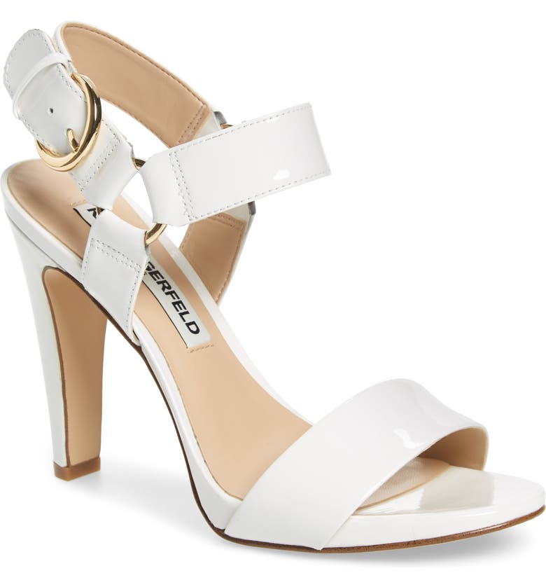 KARL LAGERFELD PARIS KARL LAGERFELD Cieone Sandal, Main, color, WHITE PATENT