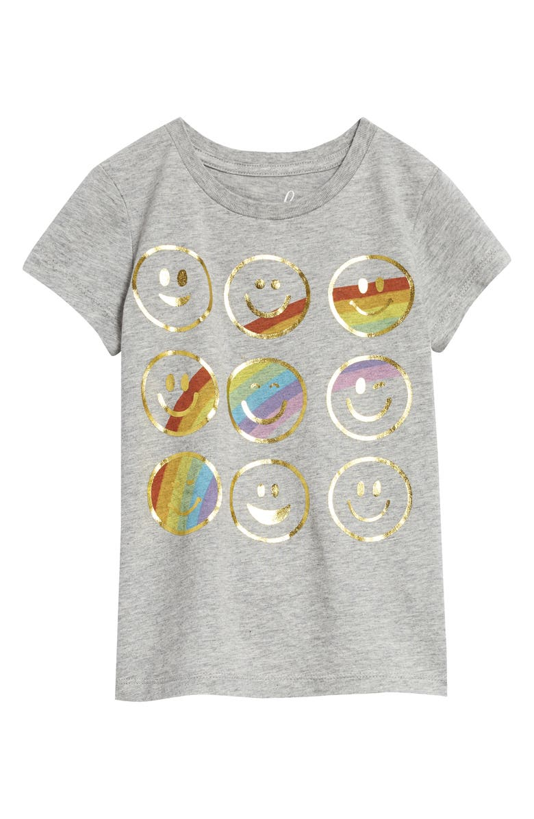PEEK AREN'T YOU CURIOUS Smiley Faces Rainbow Graphic Tee, Main, color, GREY HEATHER