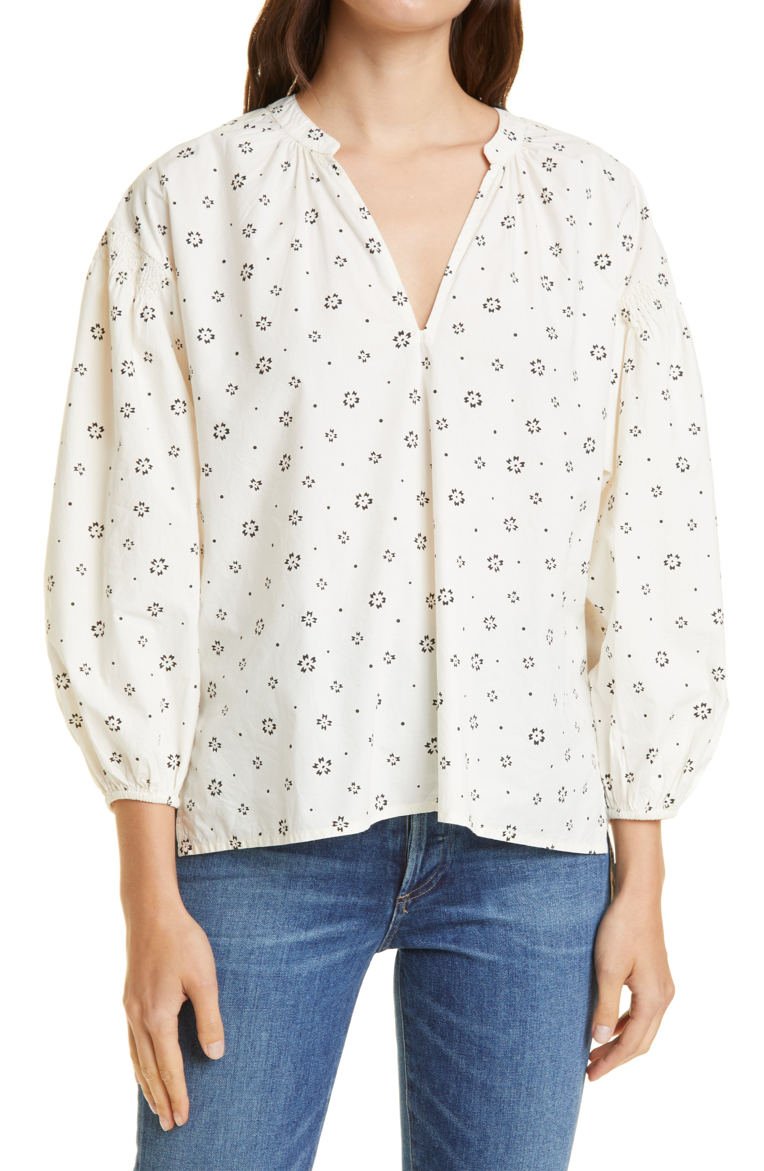 Marit Shirred Organic Cotton Blouse
