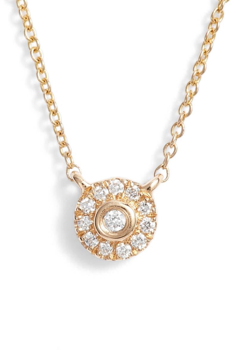 DANA REBECCA DESIGNS Lauren Joy Mini Diamond Disc Necklace, Main, color, YELLOW GOLD