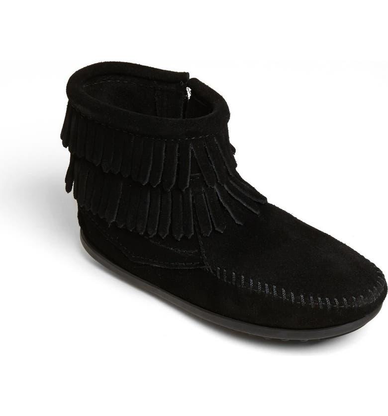 MINNETONKA 'Double Fringe' Boot, Main, color, BLACK