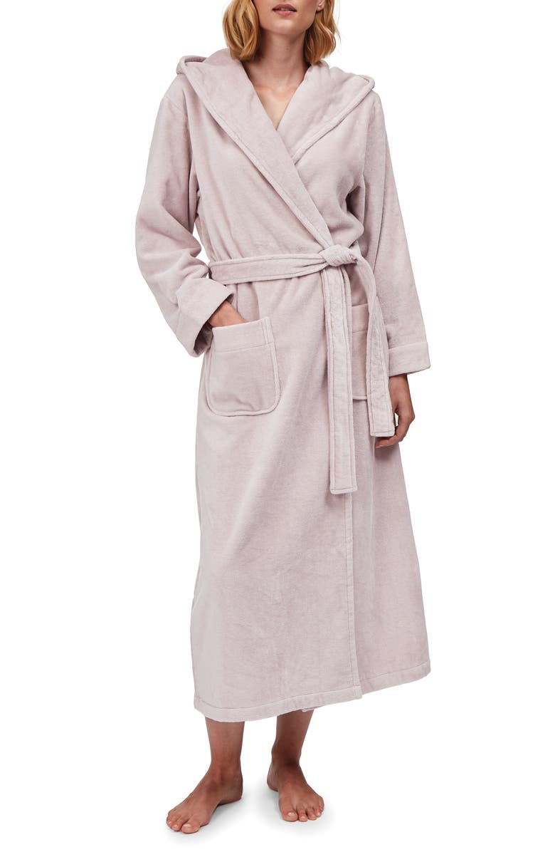 THE WHITE COMPANY Hooded Cotton Velour Robe, Main, color, 650