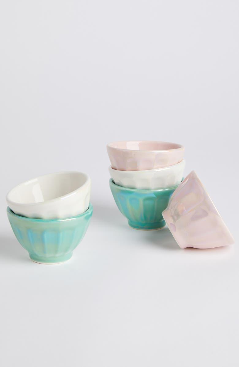 ANTHROPOLOGIE Luster Latte Set of 6 Mini Bowls, Main, color, MULTI LUSTER