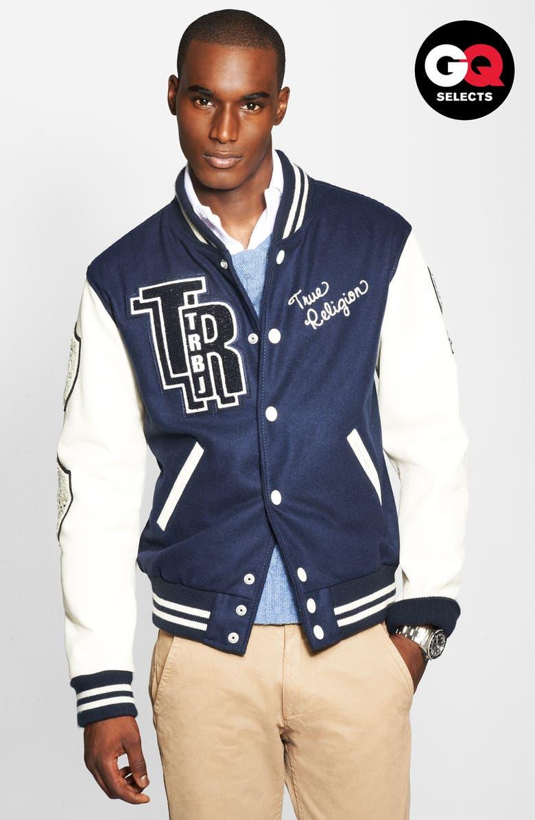 TRUE RELIGION BRAND JEANS True Religion Varsity Letterman's Jacket, Main, color, 410