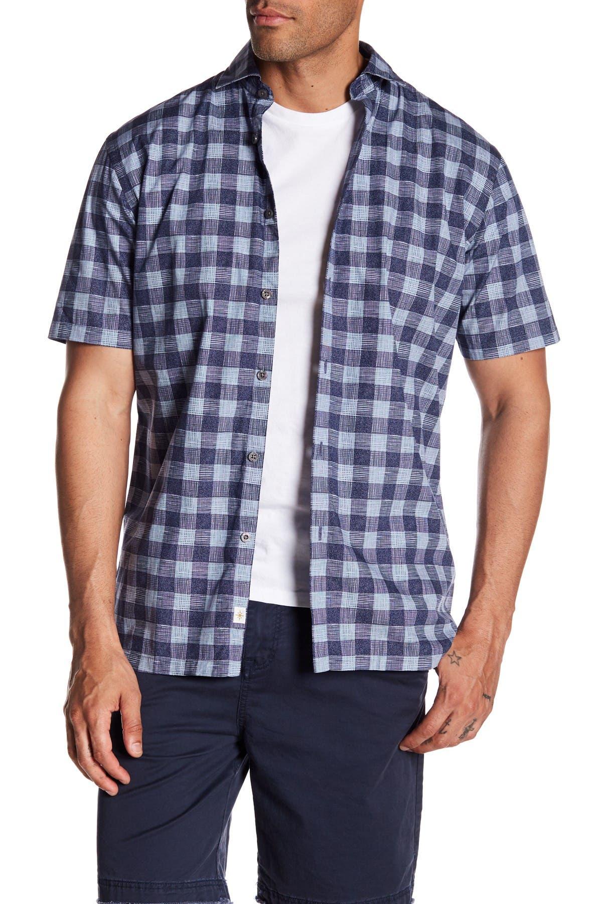 Image of COASTAORO Cabello Check Print Slim Fit Shirt