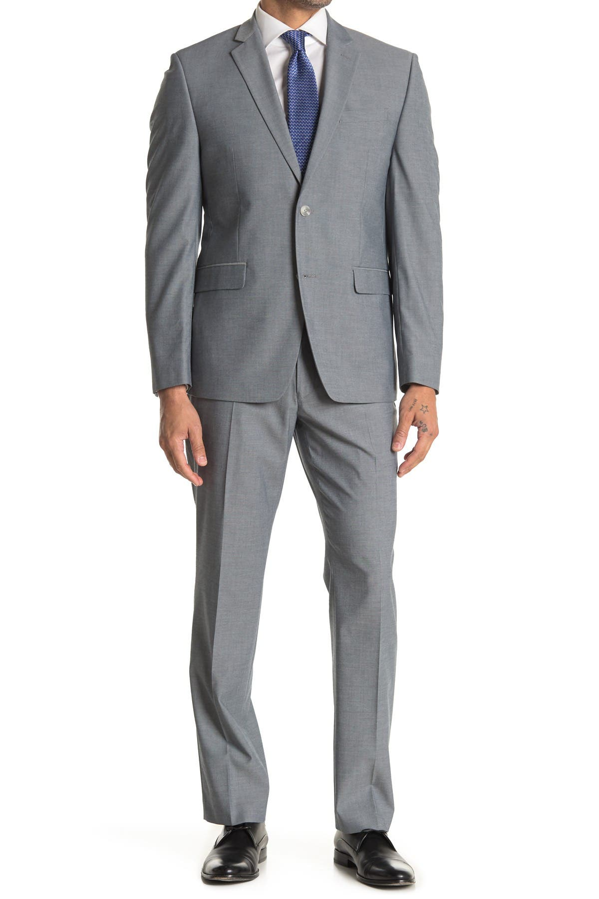 Image of Perry Ellis Grey Sharkskin Two Button Notch Lapel Slim Fit Suit