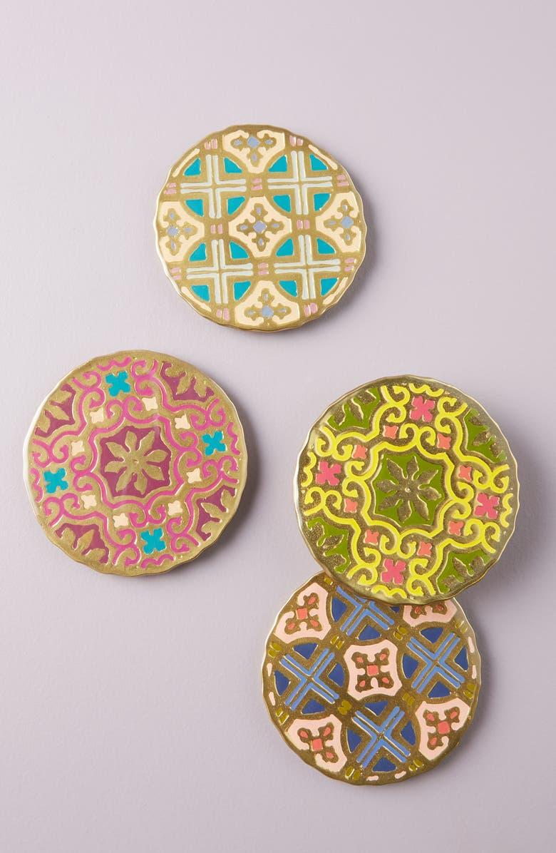 ANTHROPOLOGIE Aliye Set of 4 Coasters, Main, color, YELLOW