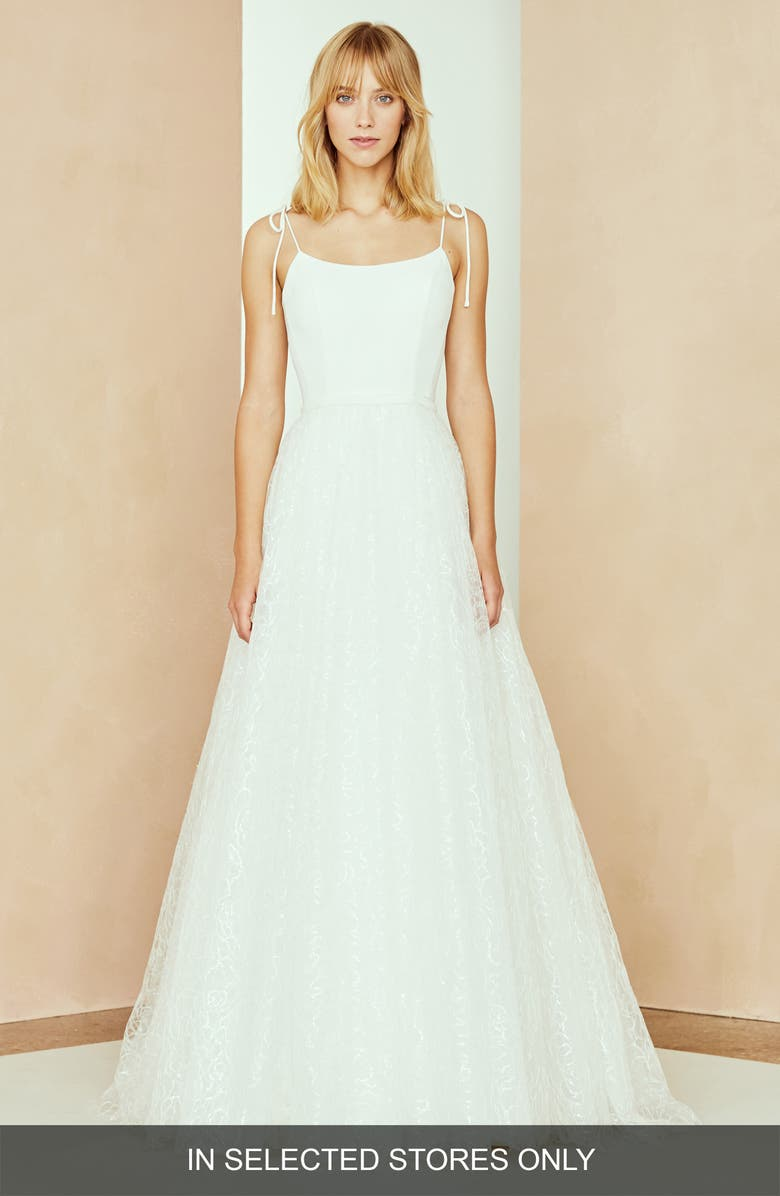 NOUVELLE AMSALE Zoe Tulle Overskirt Dress, Main, color, IVORY