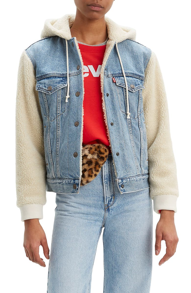 LEVI'S<SUP>®</SUP> Ex-Boyfriend Faux Shearling & Denim Hooded Trucker Jacket, Main, color, HIDDEN RIVER