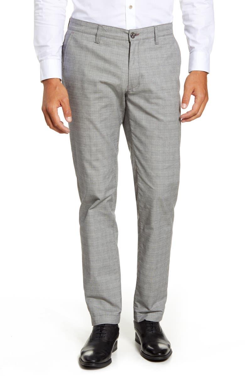 TED BAKER LONDON Slim Fit Check Pants, Main, color, GREY