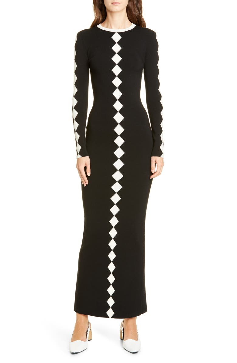VICTOR GLEMAUD Diamond Pattern Long Sleeve Wool Maxi Dress, Main, color, BLACK AND WHITE COMBO