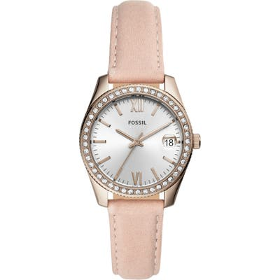 Fossil Mini Scarlette Crystal Leather Strap Watch, 32Mm