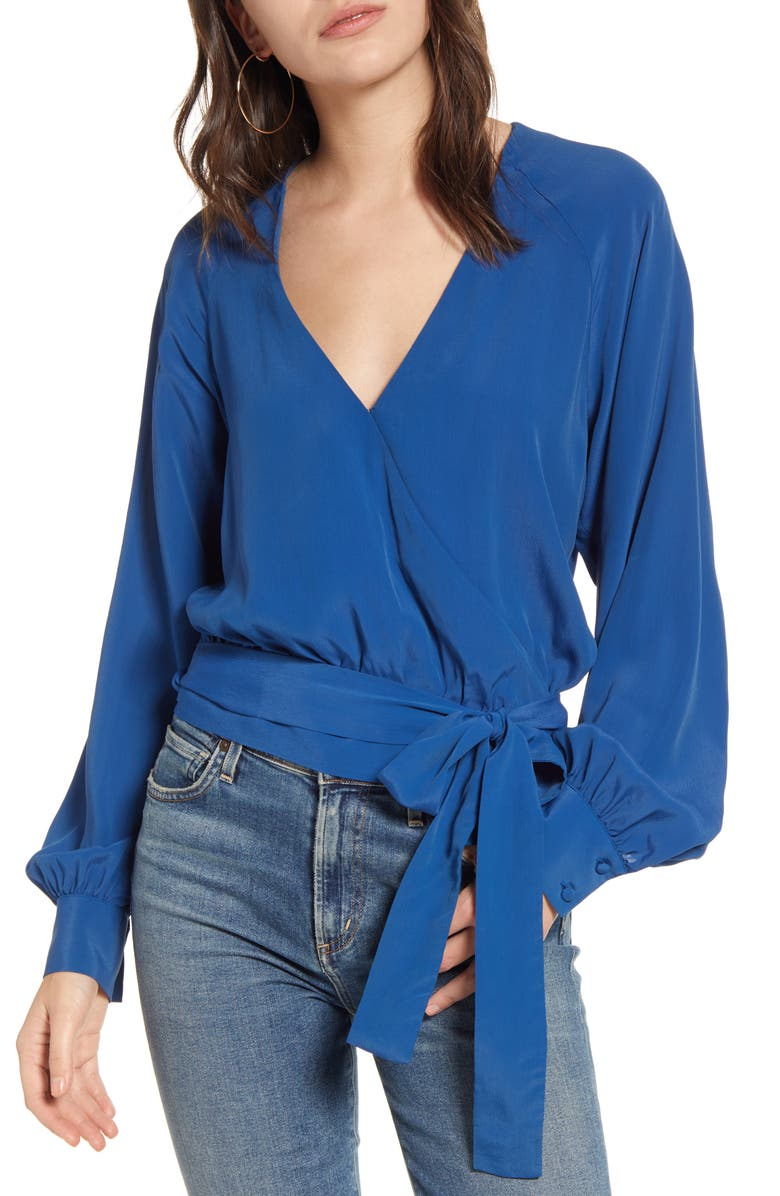 7 FOR ALL MANKIND<SUP>®</SUP> Silk Blend Wrap Top, Main, color, BLUE