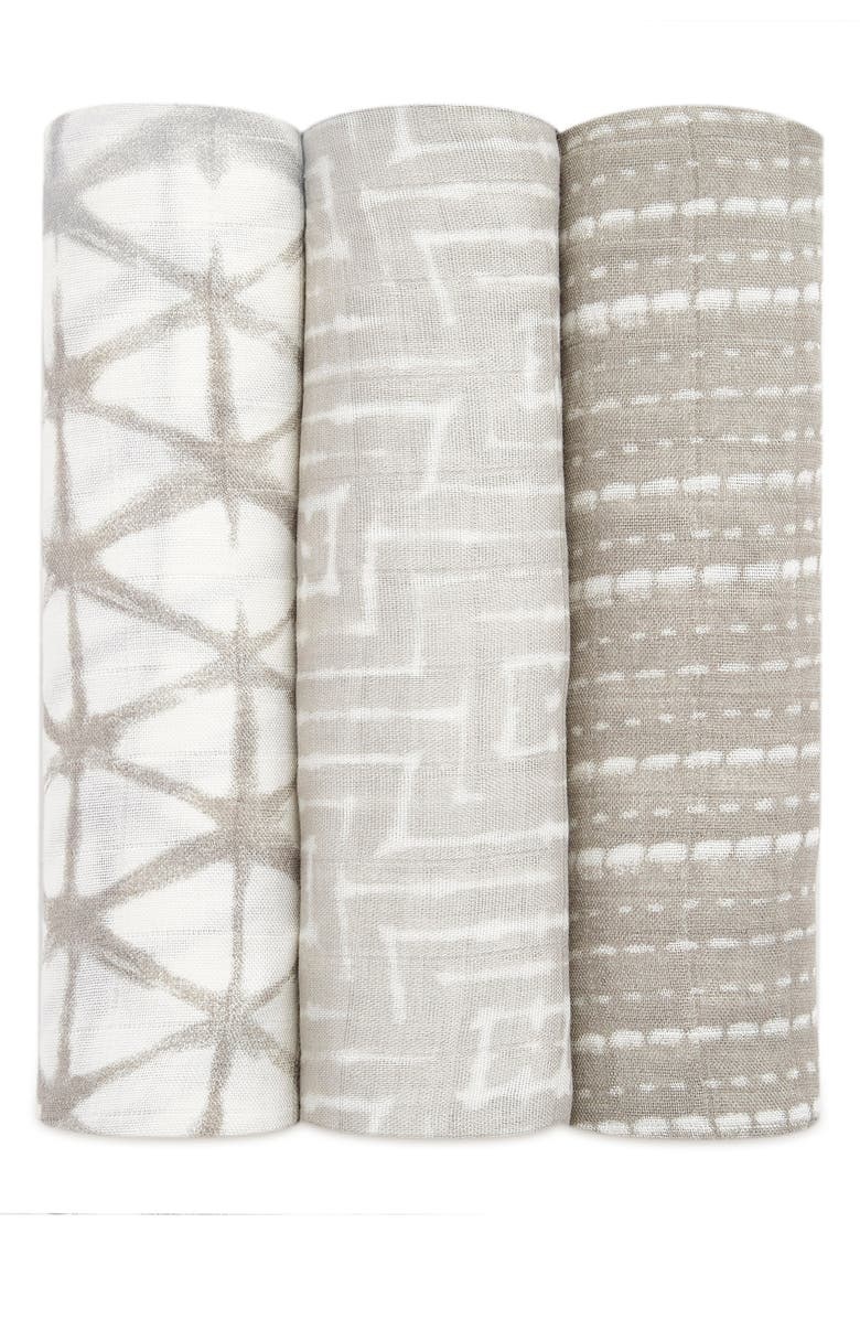 ADEN + ANAIS Shibori 3-Pack Silky Soft Swaddling Cloths, Main, color, LINEN GREY