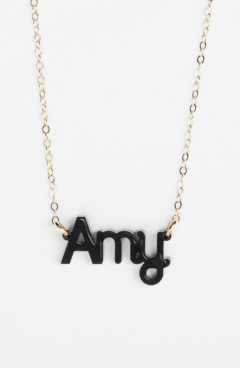 MOON AND LOLA 'Zebra Block Font' Personalized Nameplate Pendant Necklace, Main, color, 001