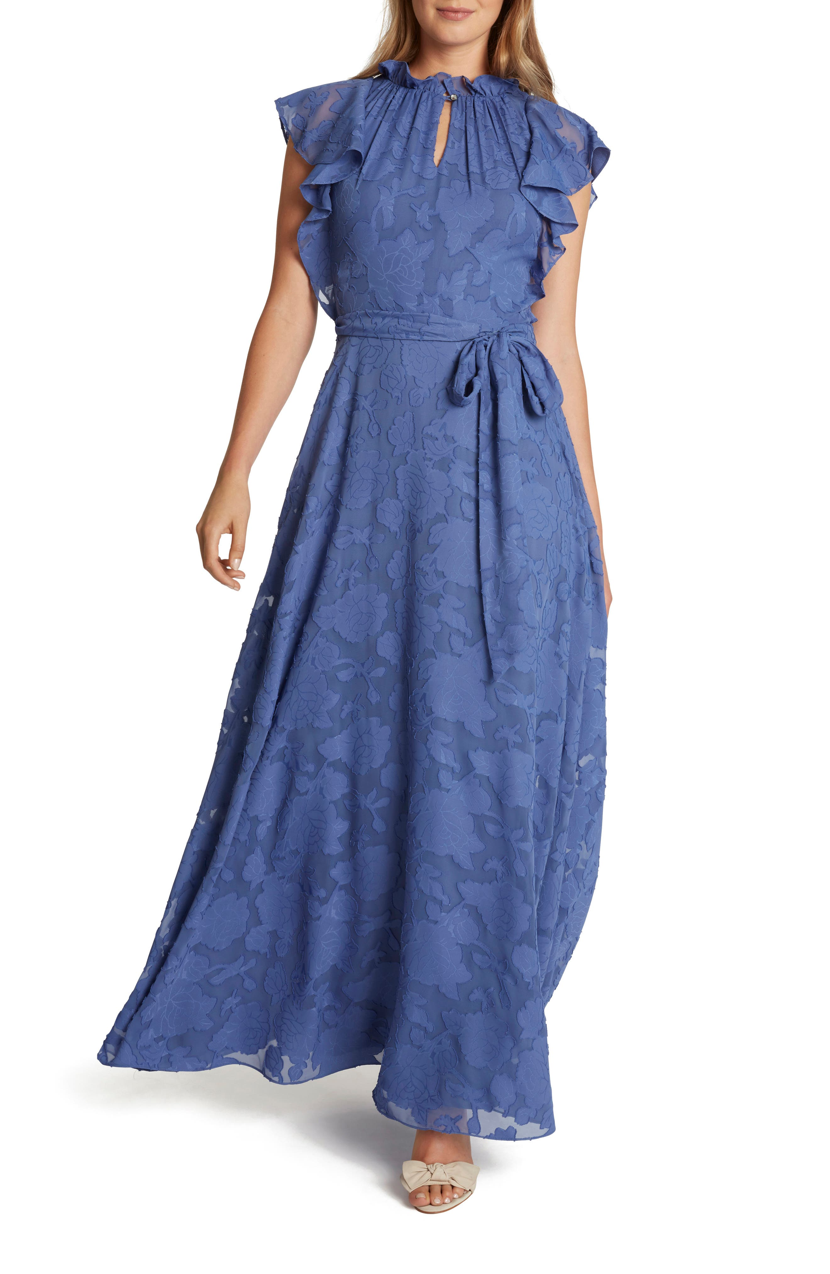 Vintage Prom Dresses, Homecoming Dress Womens Tahari Ruffle Neck Floral Jacquard Gown $178.00 AT vintagedancer.com