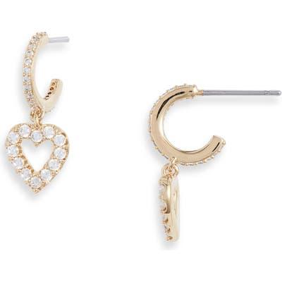 Nadri Heart Charm Huggie Earrings