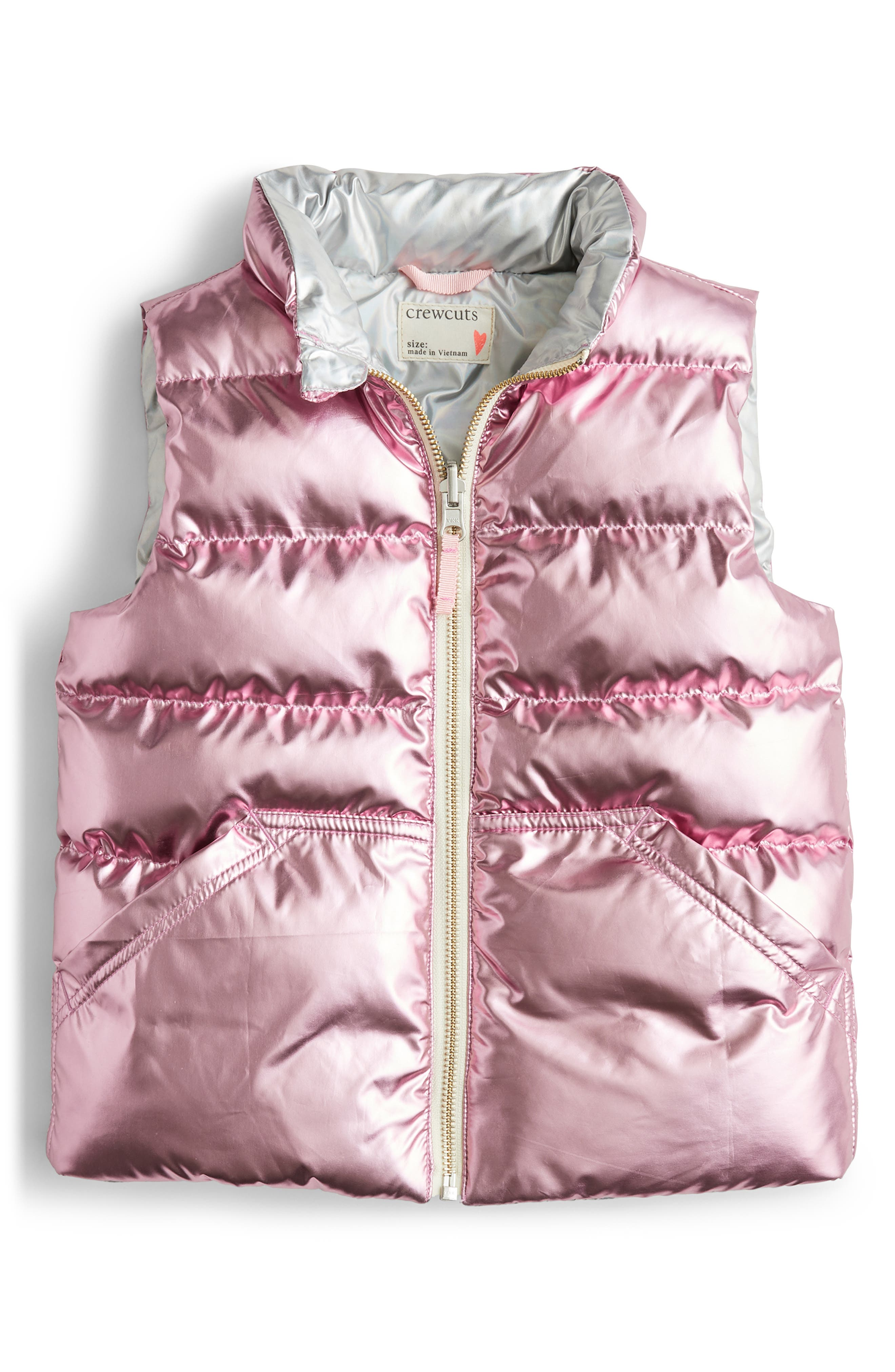 Toddler Girls Crewcuts By Jcrew Primaloft Metallic Quilted Puffer Vest Size 2T  Pink