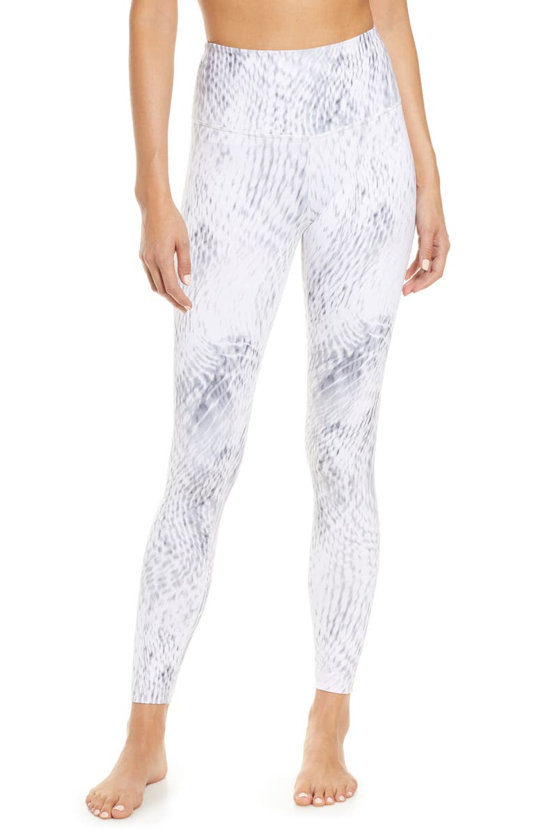ZELLA Live In High Waist Ankle Performance Leggings, Main, color, GREY LILAC CHIMERA PRINT