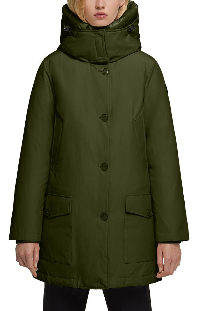 WOOLRICH Water Repellent Down Parka, Main, color, DARK GREEN